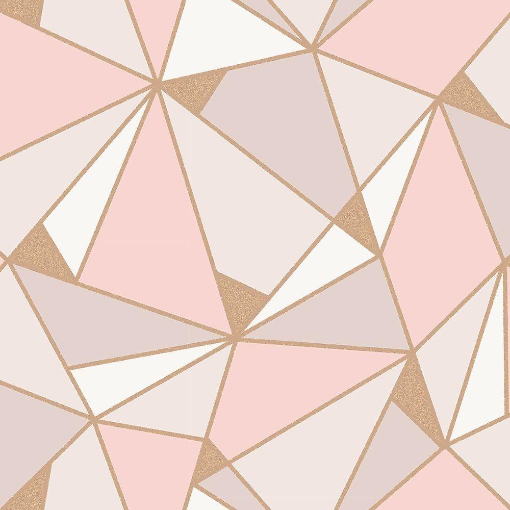 Crown Wallpaper Trance Geometric Rose Gold/Blush Pink