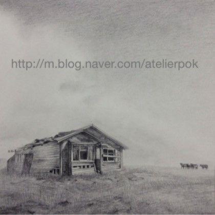 취미미술 화실 - 연필로 풍경화 그리기. 뎃생 풍경화 : 네이버 블로그
