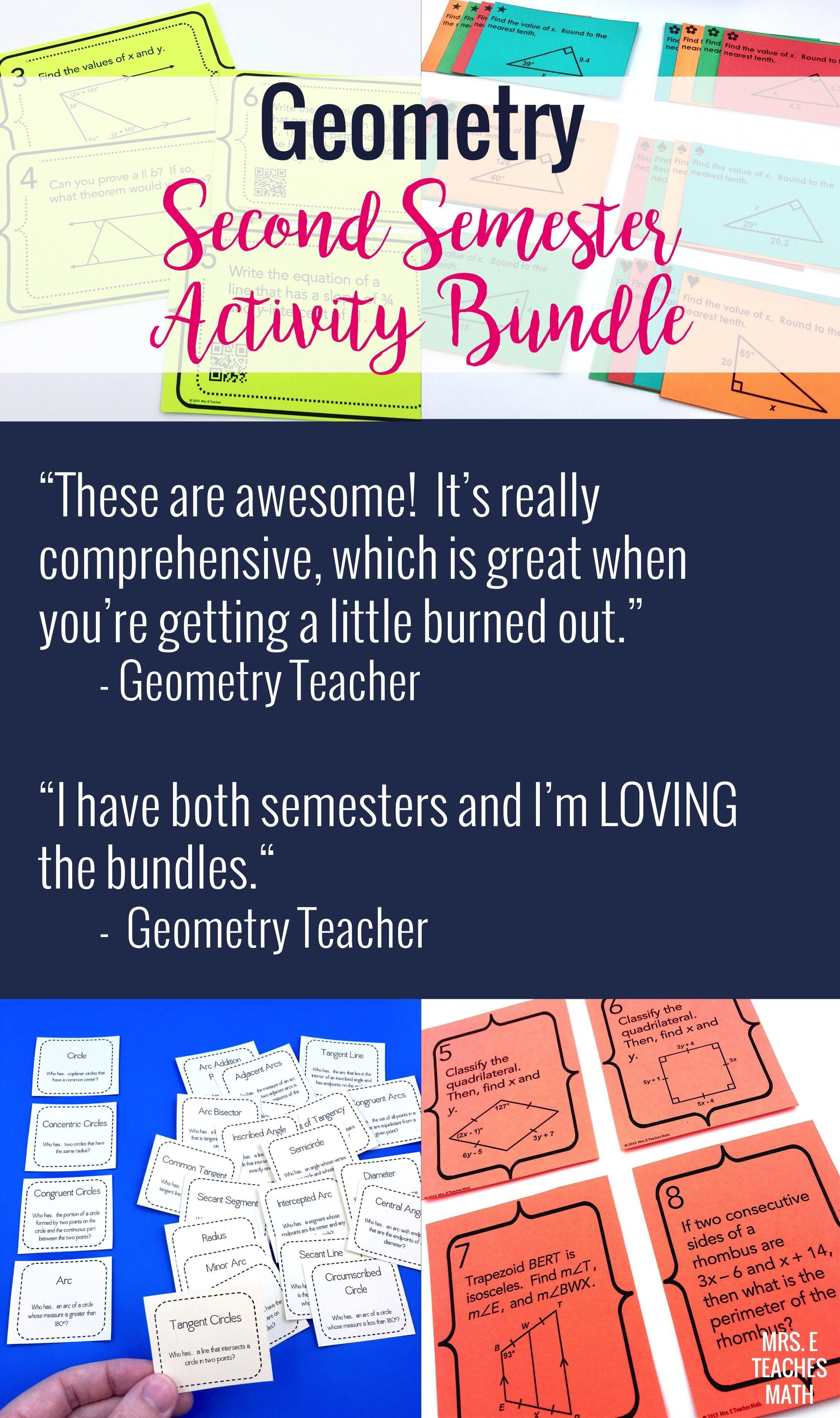 Geometry Activity Bundle Second Semester