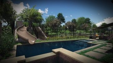 AMS - Assorted 3D Renderings - Pool Slide option - eclectic - Drawings - Orange County - AMS Landscape Design Studios, Inc.