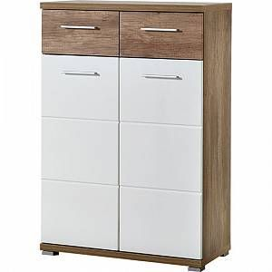 Jason Shoe Cabinet in White Gloss And Oak With 2 Door#cabinet #door #gloss #jason #oak #shoe #white