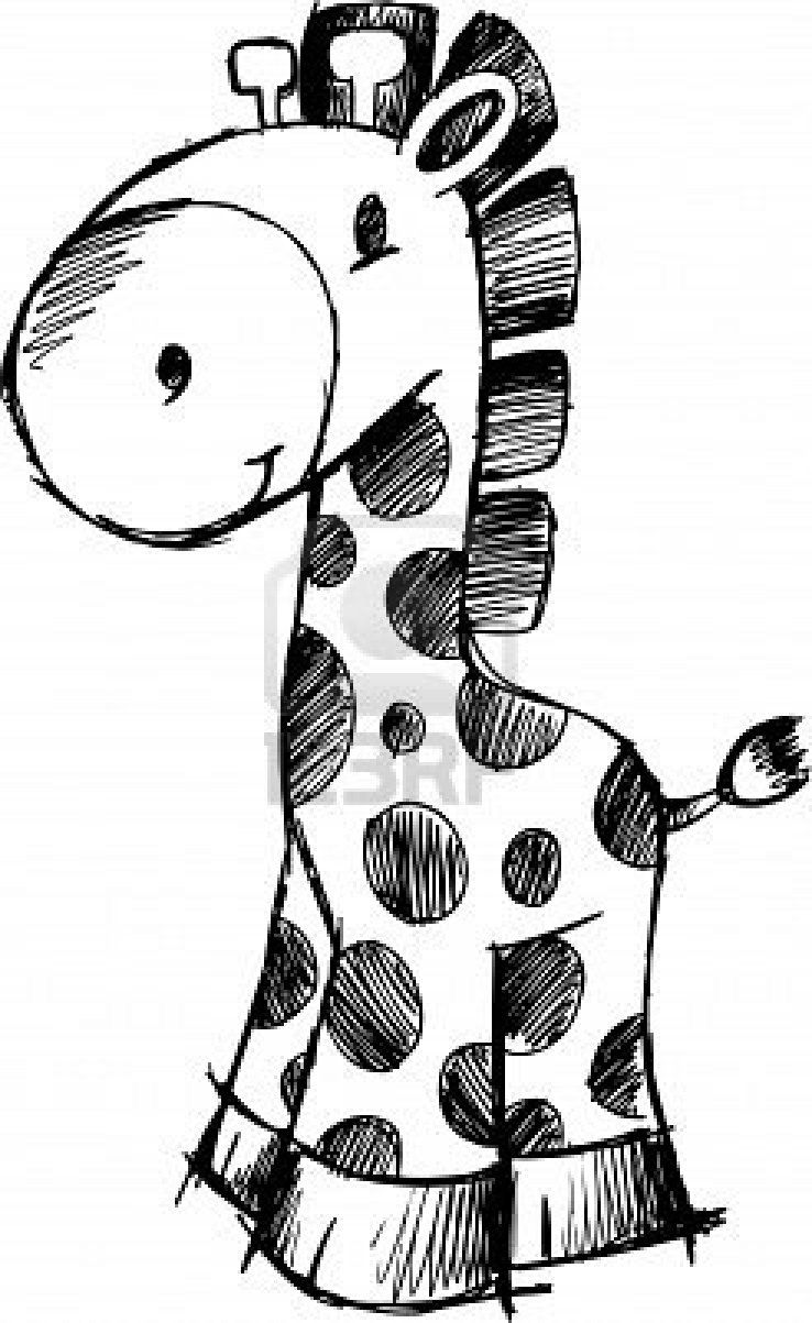 Stock Vector Giraffe illustration, Giraffe drawing, Cute