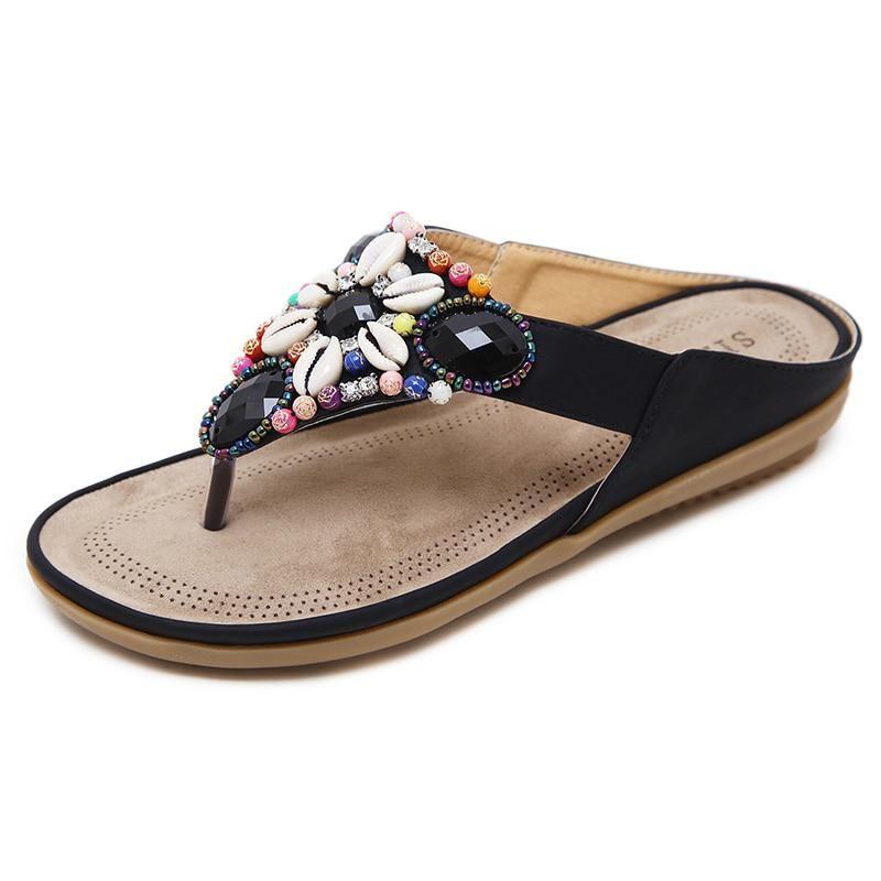 LAKESHI 2018 Bohemian Women Sandals Summer Shoes Fashion Woman Flats Sandals  Gemstone Floral Beaded Flip Flops 07abdafb5aee