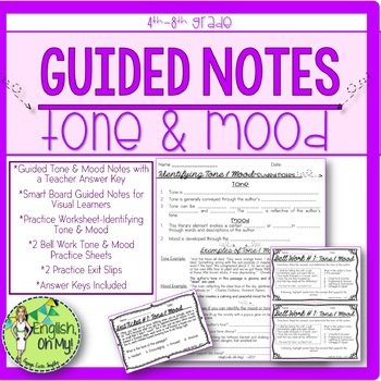 Looking To Teach Tone And Mood Here Are Guided Notes Practice Worksheets Bell Work Exit Tickets And Answer Sheets Guided Notes Mood And Tone Reading Skills
