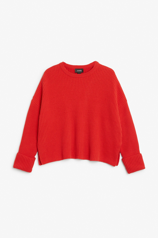 Monki Knit sweater in Red Yellowish | love list | Pinterest ...
