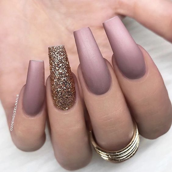 61 Coffin Gel Nail Designs For Fall 2018 You Will Love Fallnails Coffinnails Gelnails Jewenails Mauve Nails Ballerina Nails Gold Nails
