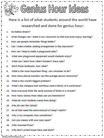 Ideas For Genius Hour Teaching Pinterest Genius Hour Genious