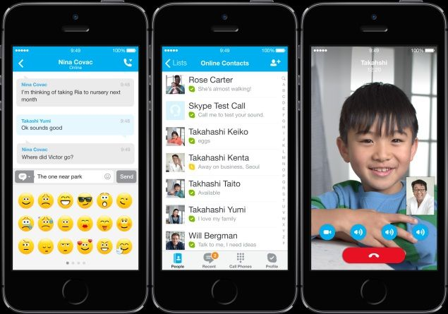 Skype for iOS and Android with new interfaces and