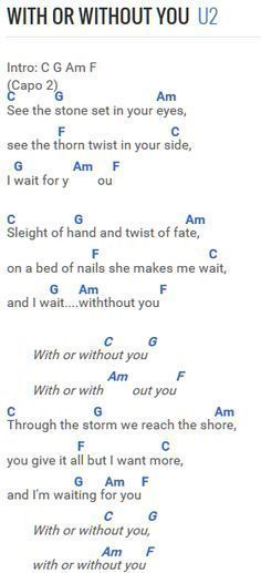 U2 - With Or Without You -Forget the capo and transpose it like a ...