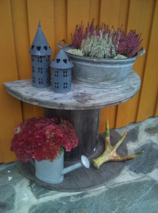 Blomsterbord palettenm bel pinterest kabeltrommel m bel und trommel - Kabeltrommel dekorieren ...