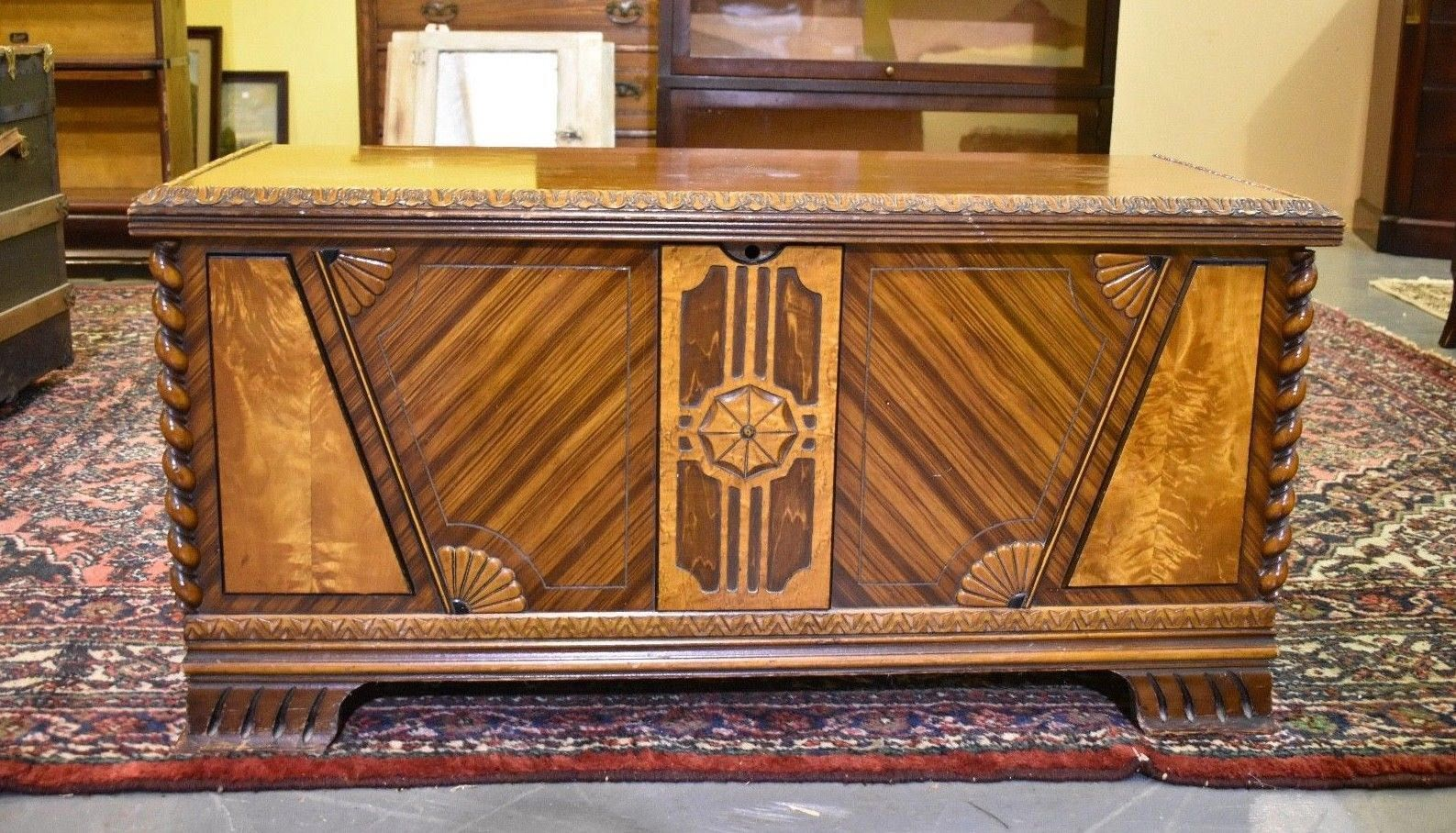 Art Deco Antique Walnut Bedroom Cedar Hope Blanket Chest by ...