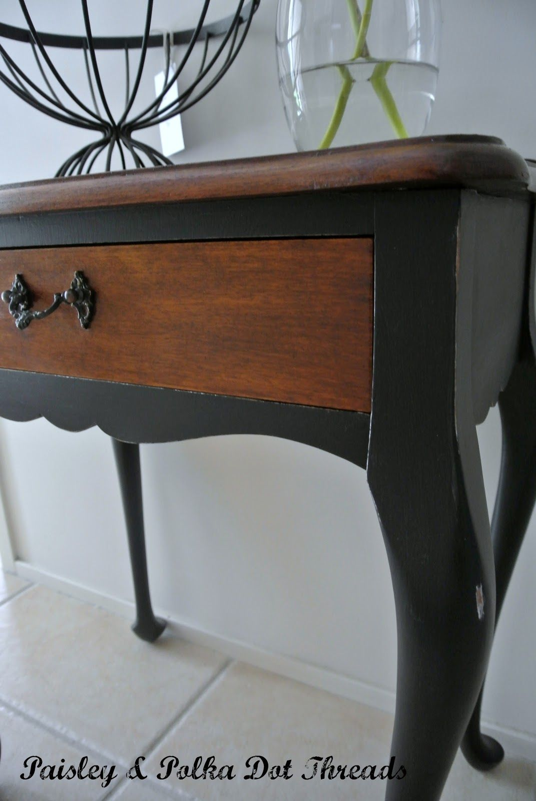 painted queen anne sofa table studded leather love the paint job on this paisley polka dot threads