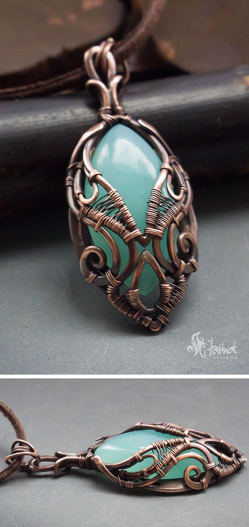 Blue chalcedony copper pendant   Wire Work Jewellery by Artarina ...
