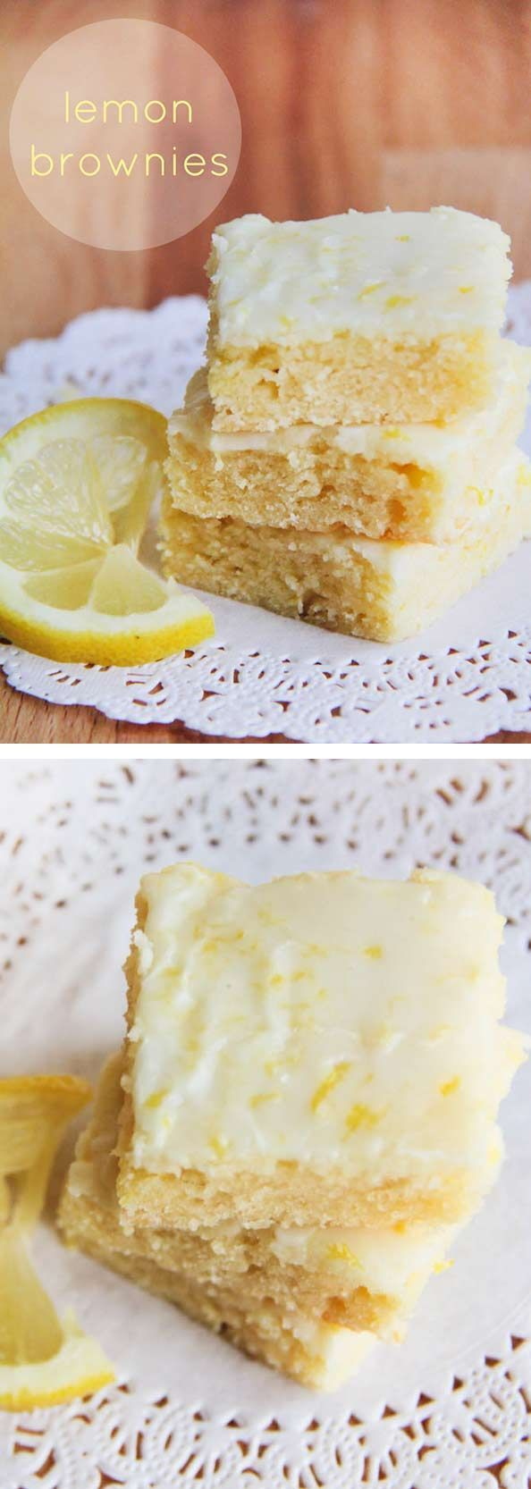 Lemon Brownies - I Heart Naptime Lemon brownies AKA lemon blondies -super soft bars topped with th