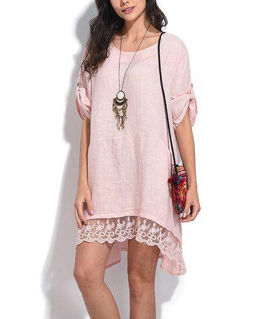 Another great find on #zulily! Light Pink Linen Lace-Hem Shift Dress #zulilyfinds