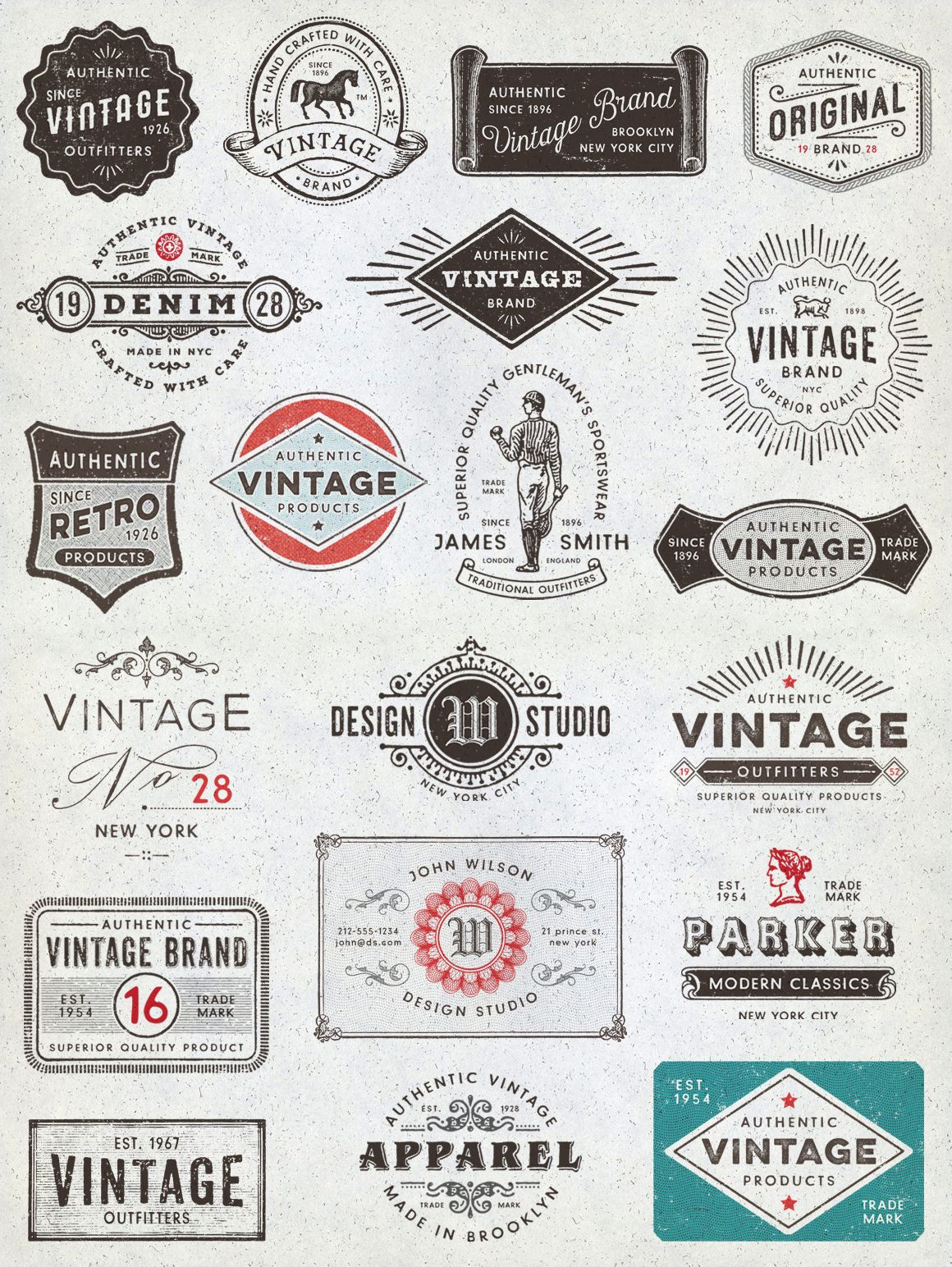 Vintage Logo Design Kit with BONUS by DISTRICT 62 STUDIO on Creative Market