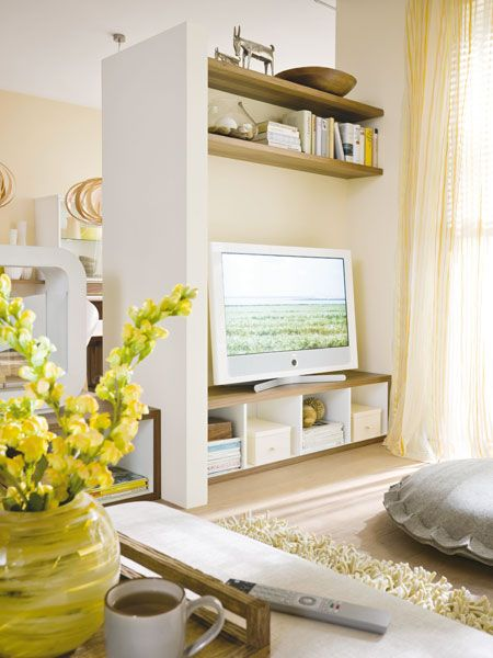 living room tv divider. room divider TV entertainment stand idea  Living Room Pinterest