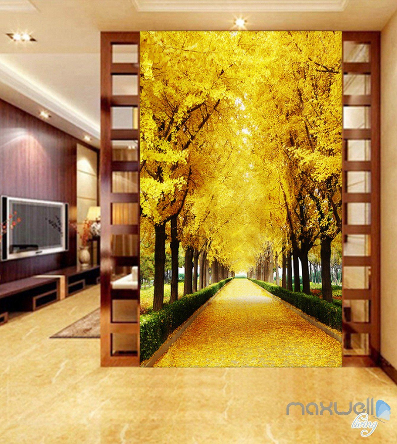 3D Autumn Tree Yellow Leaves Corridor Entrance Wall Mural Decals ...
