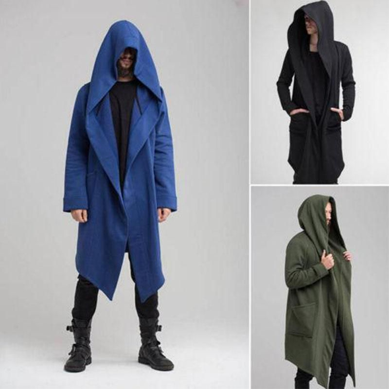 Mens Long Sleeve Irregular Hem Cardigan Coat Trench,Loose Fit Solid Color Hoodies Outwear Windbreaker