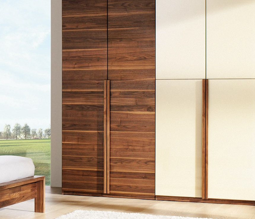 High-end Luxury Modern Walnut And Glass Wardrobe
