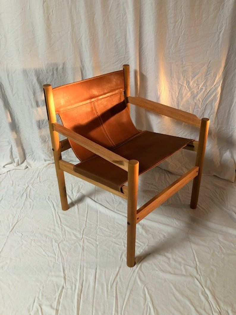 Sling Chair Leather Chair Accent Chair Modern Chair Etsy Mid