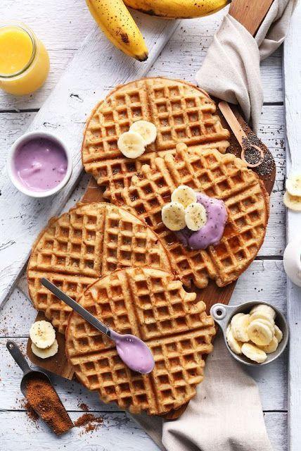 Kokos - Joghurt - Waffeln (VEGAN GF) - Zuckerfreies Backen   Kuchen Muffins Kuchen   ...   - Gesunde Pfannkuchen -