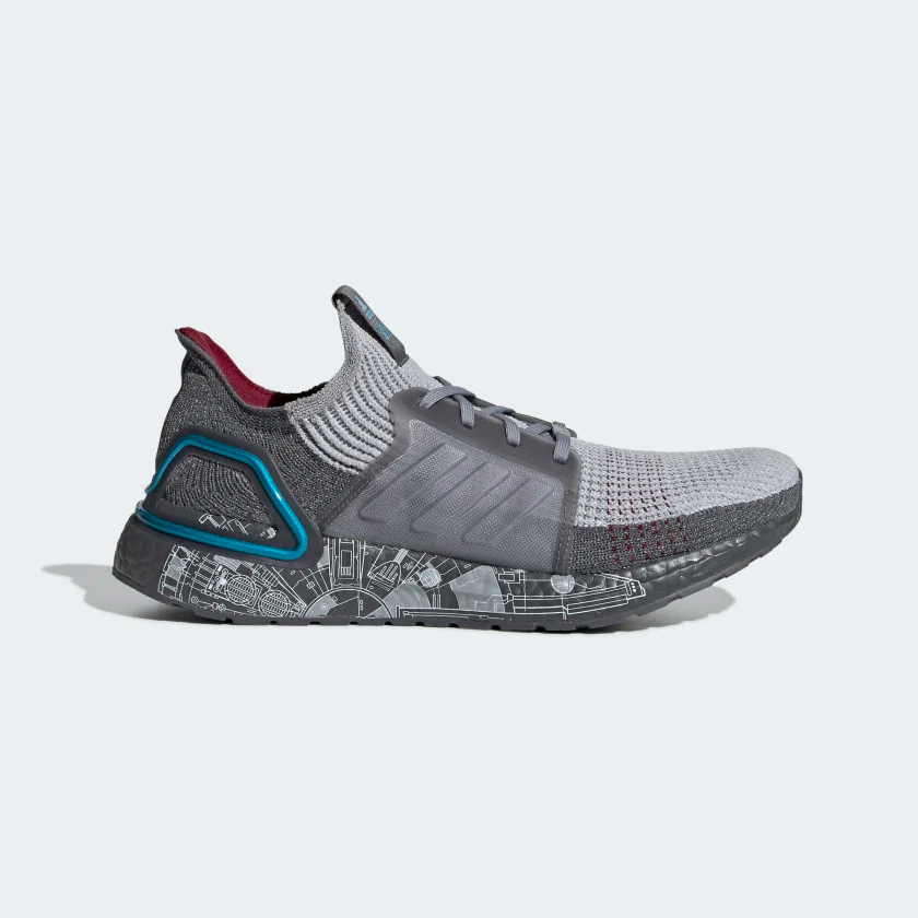 Ultraboost 19 Star Wars Shoes Grey Grey Two Bright Cyan Fw0525 Star Wars Shoes Adidas Star Wars Running Shoes For Men