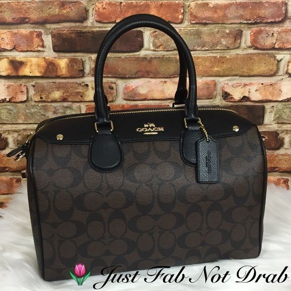 591fe46c424b NWT Coach Large Bennett Satchel Bag Signature New with tags and store  receipt F36187 MSRP  425 Brown sig. coated canvas w  black Crossgrain  leather trim Zip ...