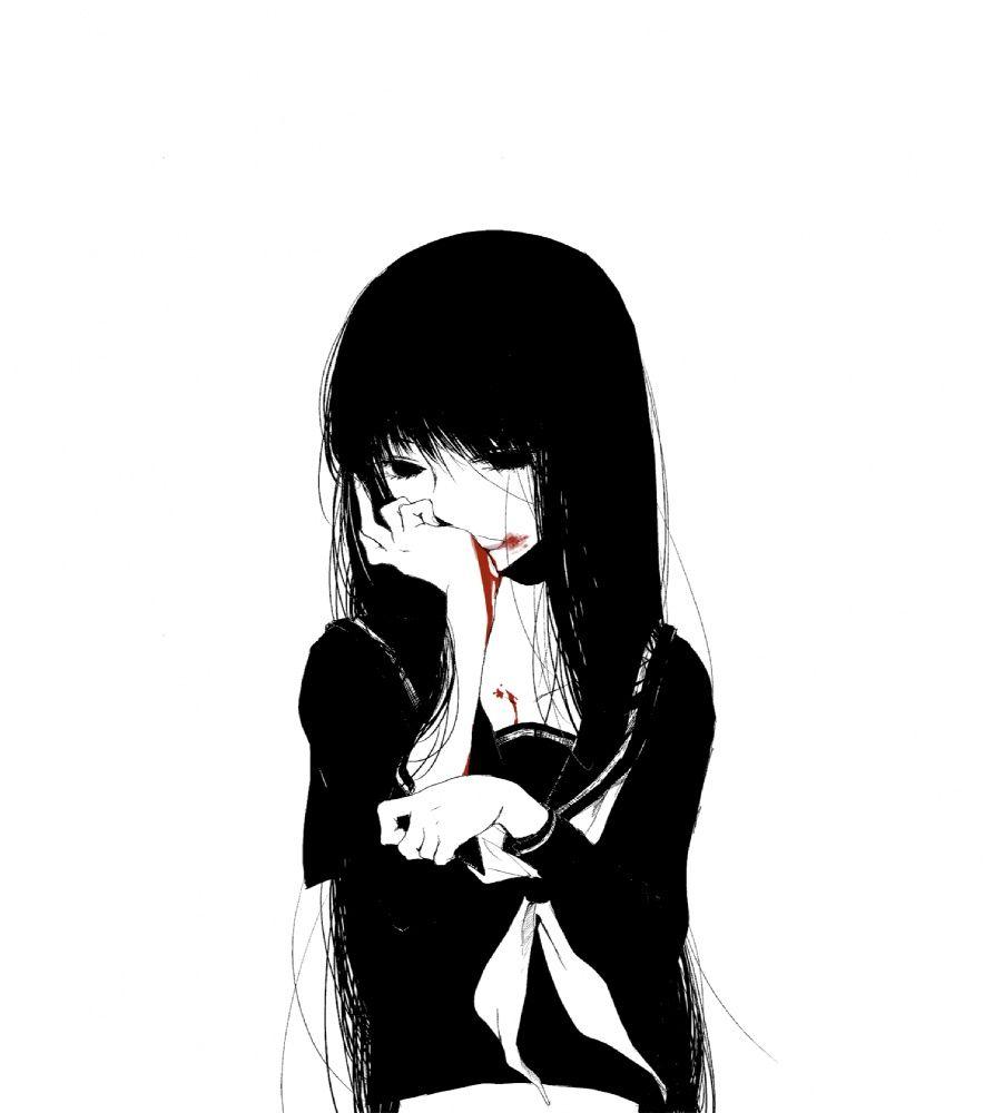 Anime girl art black and white blood