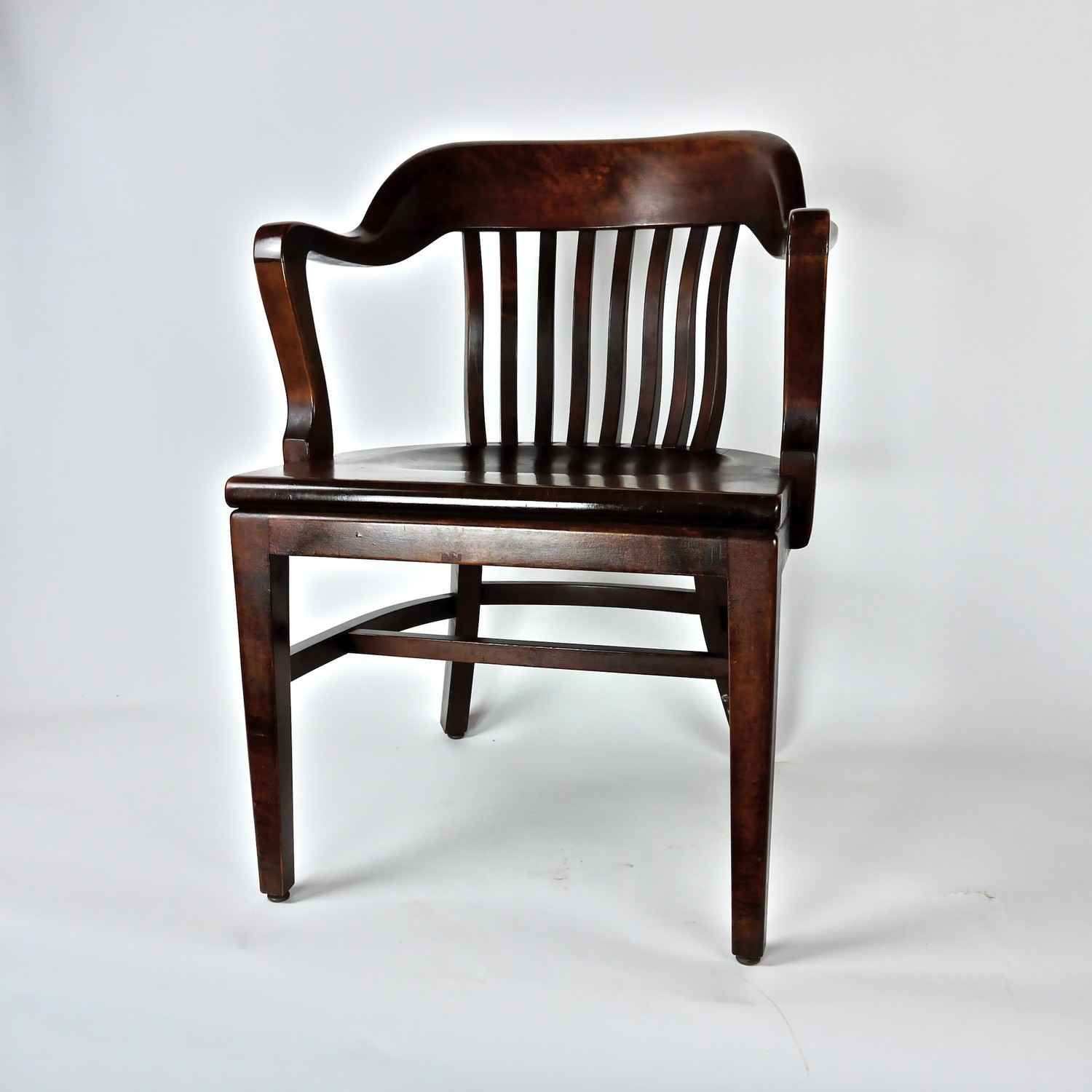 Antique Post War Wooden Office Library Chair By DailyMemorandum Vintage L
