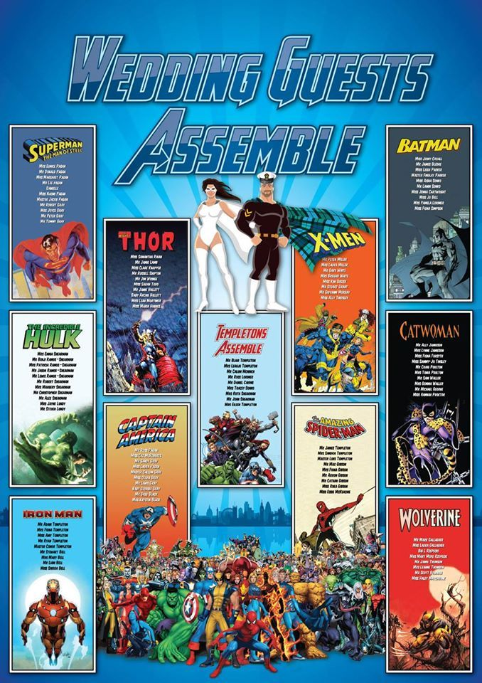Matrimonio Tema Marvel : Comic book and superhero wedding seating plans iq
