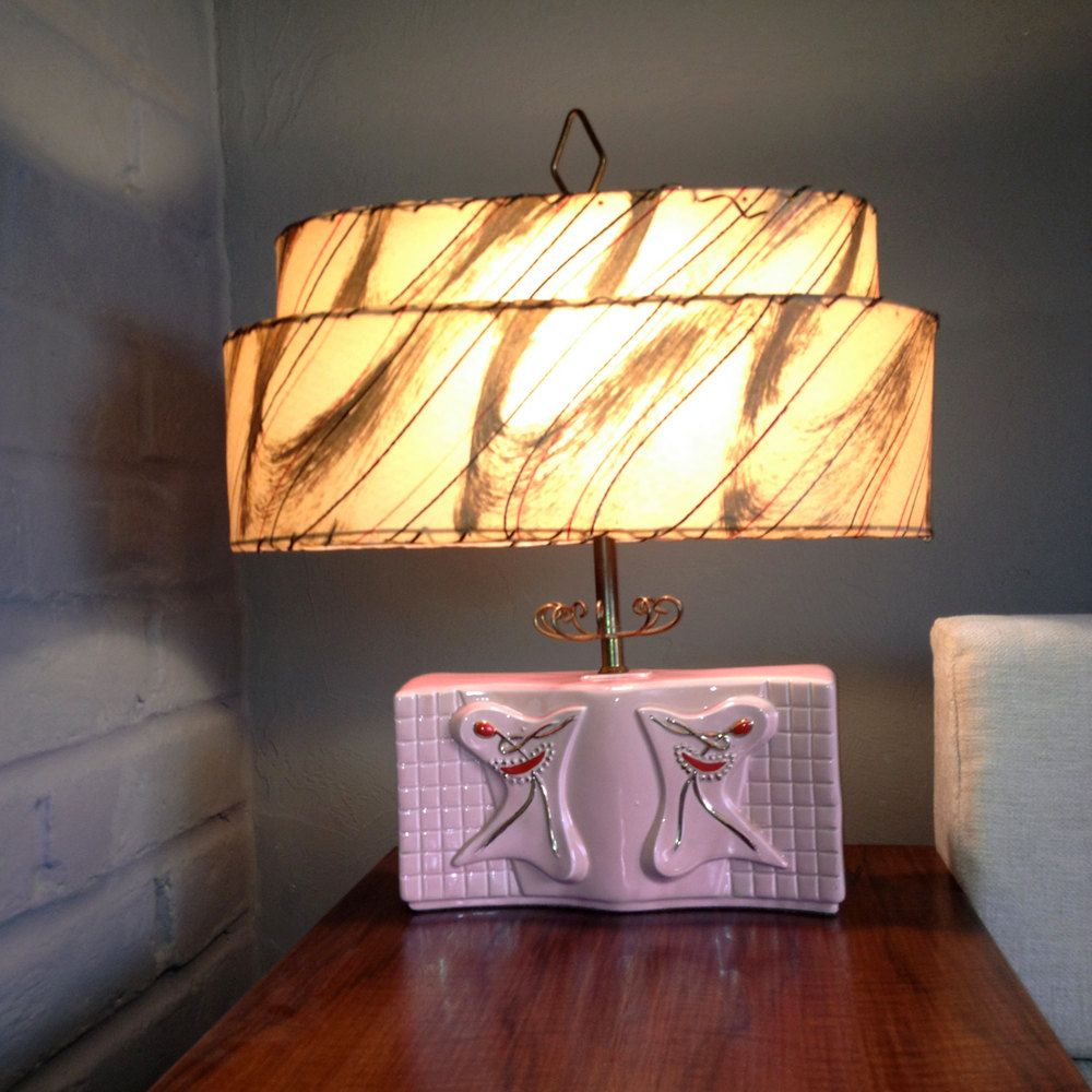 Vintage 1950s 50s Ballerina Table Lamp Pink Gold Double Shade Etsy Vintage Lamps Mid Century Modern Lamps Funky Lighting