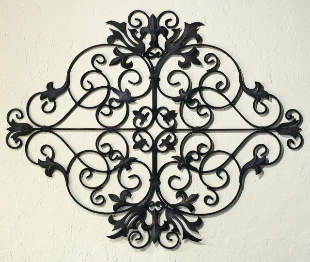 Dante oversized tuscan metal wall grille with fleur de lis accents this oversized tuscan iron metal fleur de lis wall grille looks great hung tuscan decoroutdoor ppazfo