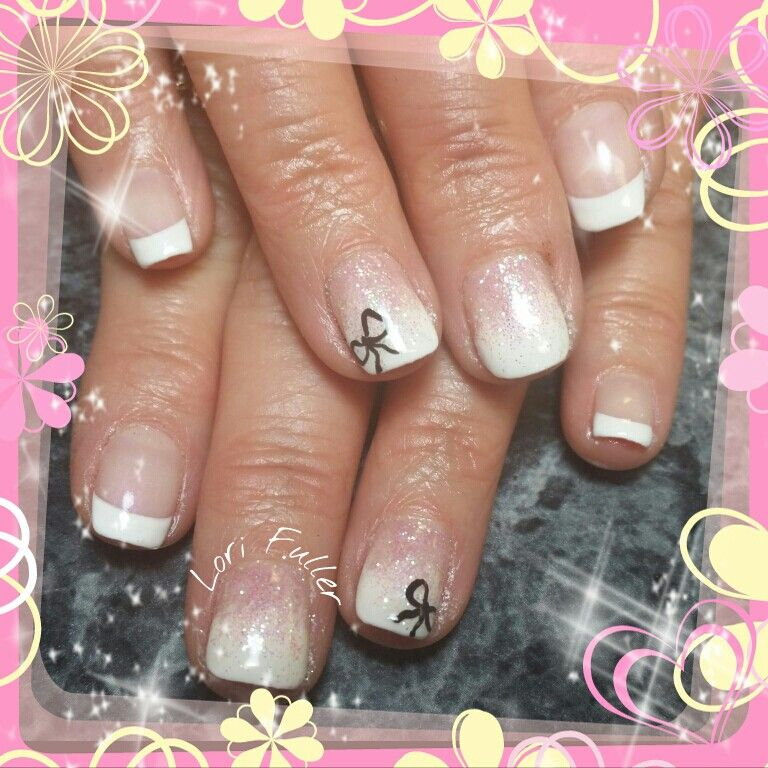 Gel polish, pink and white, fade, bow, french | Nails I have done ...
