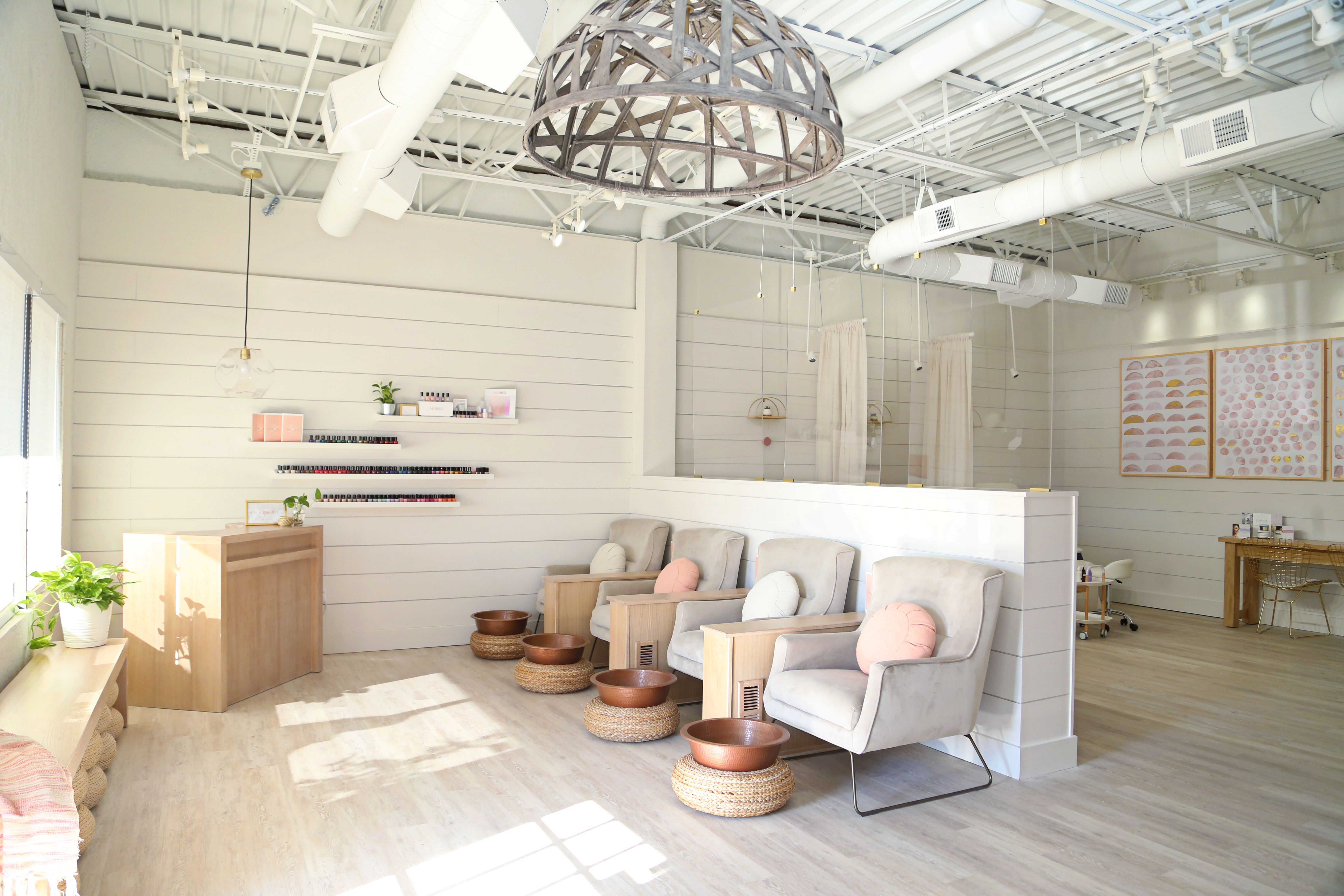 Sweet Mia Nail Spa The First Non Toxic Nail Spa In Oklahoma Parterre Flooring Systems Salon Interior Design Nail Salon Interior Design Spa Interior Design