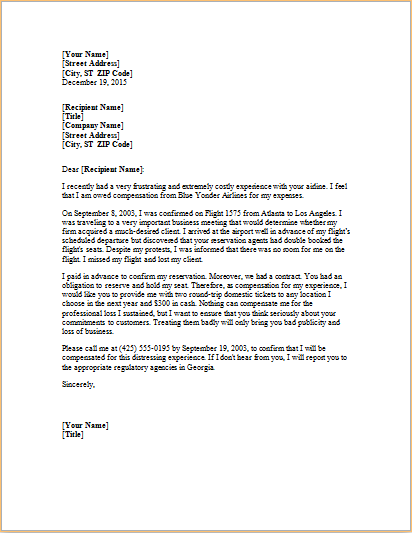 Download Complaint Letter About Overbooked Flight At HttpWww