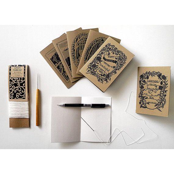 Handsewn Pocket Notebooks  3.5x5 Kraft Jotters  by SarahTrumbauer, $6.00