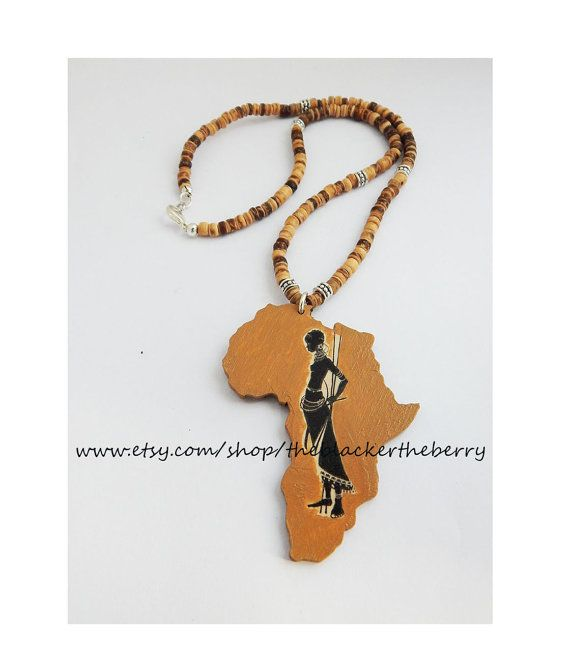 African tribal necklace africa jewelry beaded heishi hand painted african tribal necklace africa jewelry beaded heishi hand painted warrior tribal africa pendant wooden africa shape aloadofball Choice Image