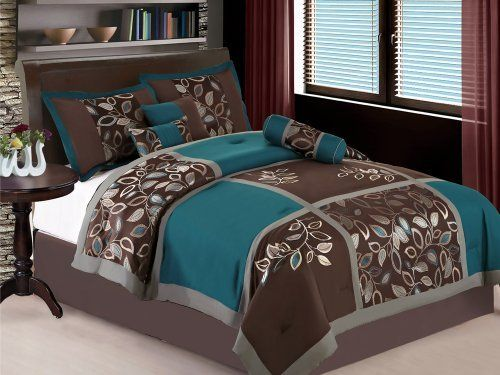 Amazon.com: HGS 11-Pc Jacquard Embroidery Leaf Patchwork Comforter Curtain Set Brown Teal King: Home & Kitchen