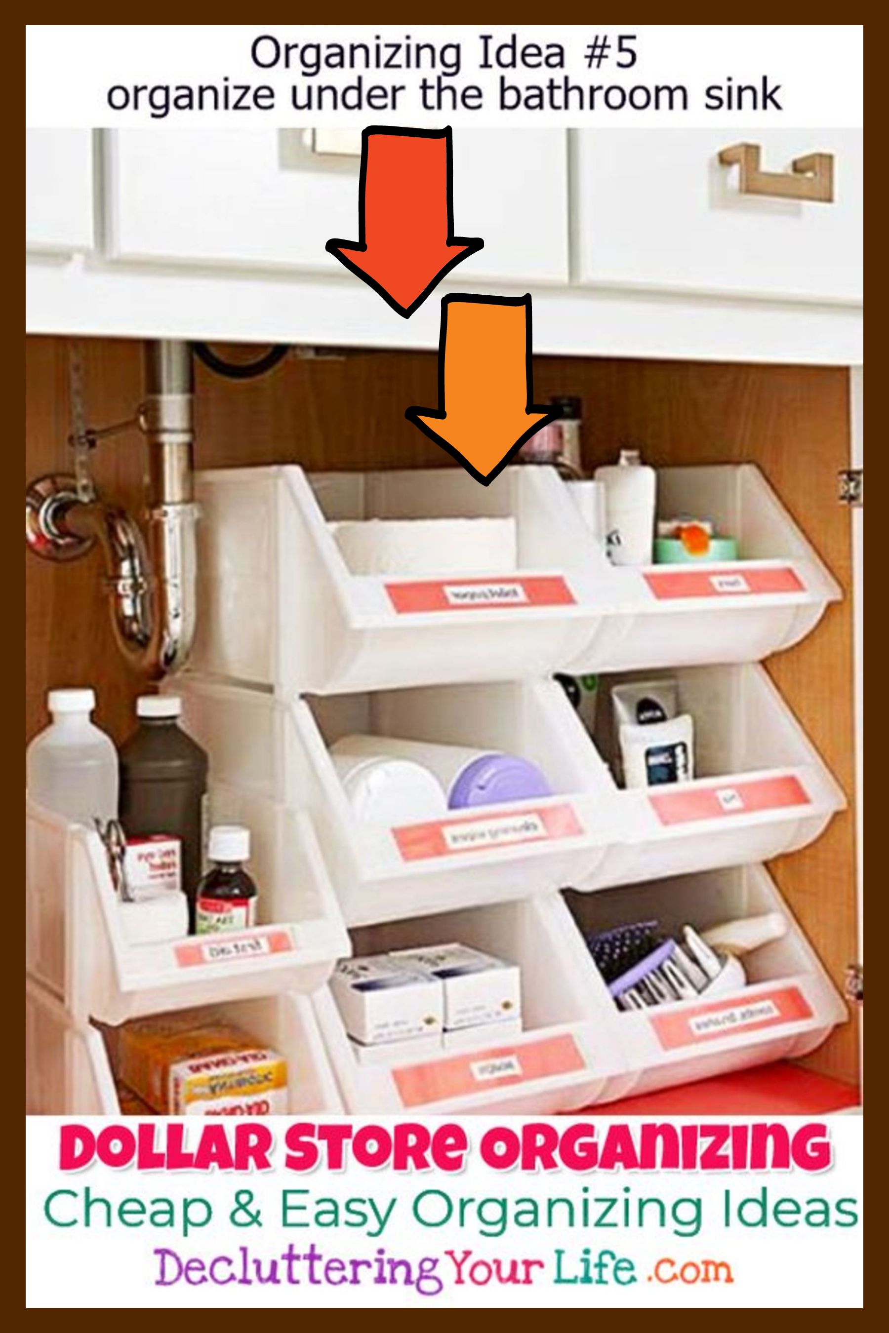 Cheap And Easy Organization Ideas For The Home Using Dollar Stores Organizing Id Small Bathroom Storage Diy Cheap Organization Dollar Store Organizing Bathroom [ 2700 x 1800 Pixel ]
