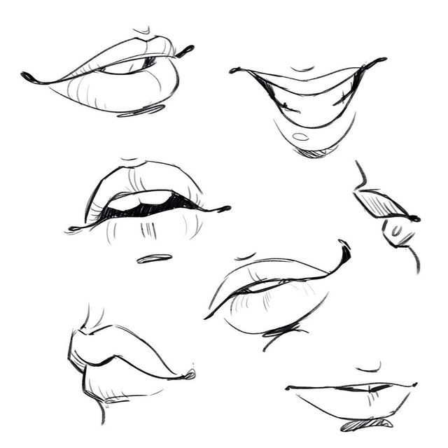 Mouth Outline Drawing Art Reference Lips Drawing Body Drawing