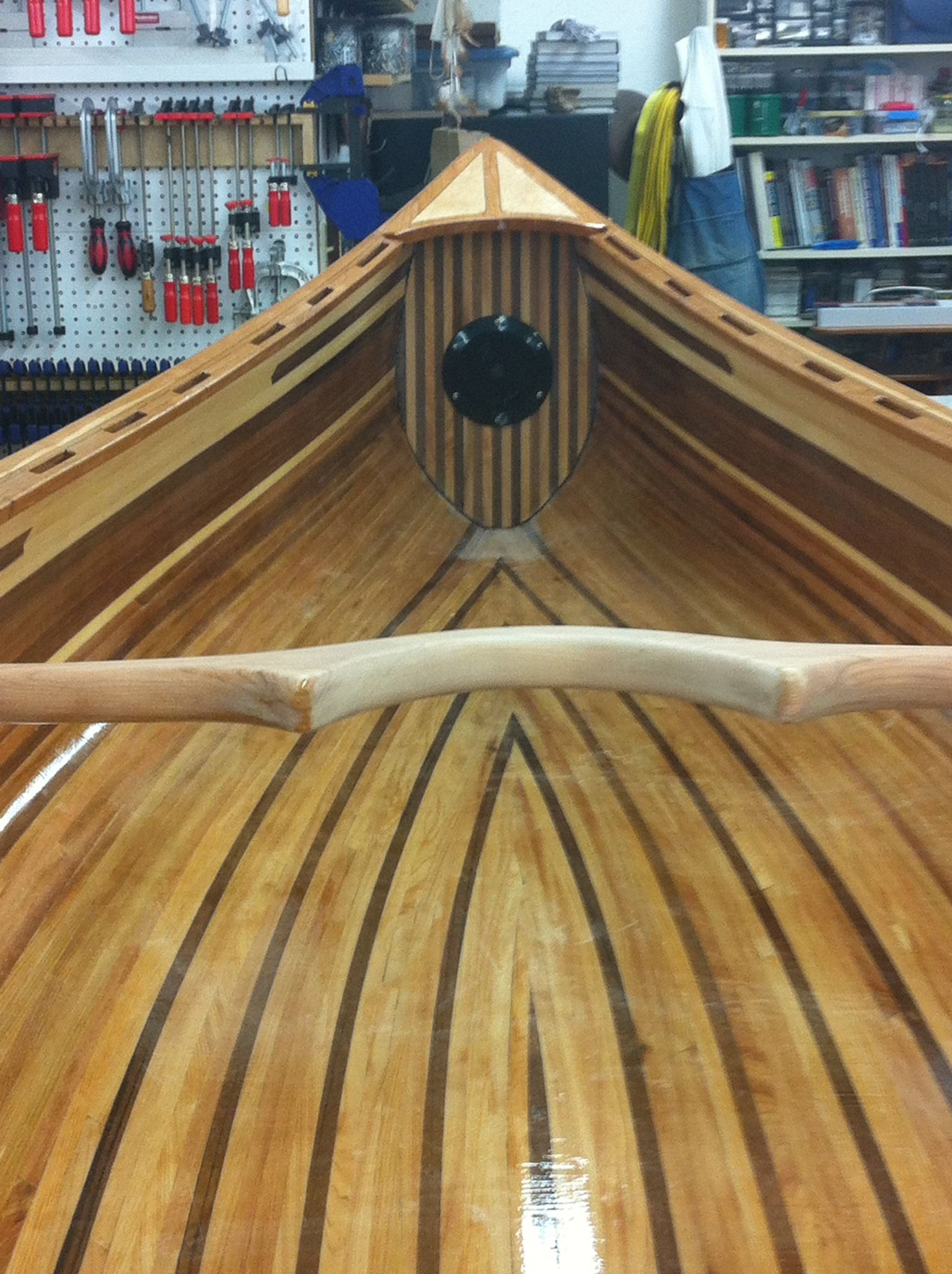 Yoke, decks & bulkheads installed | First Cedar Strip Canoe | Kayak boats, Wood canoe, Canoe boat