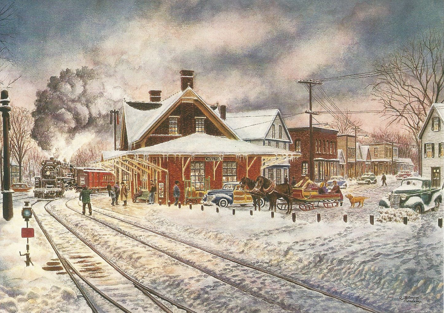 Christmas Card Railroad Art Tren