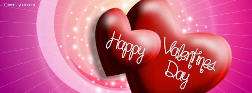 Happy Valentines Day Two Hearts Facebook Cover coverlayout.com