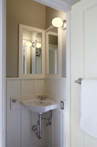 Corner Sink Mirror Idea Looking For Solution For Really Tiny Bathroom Guest Bathroom Small Small Bathroom Inspiration Corner Sink Bathroom