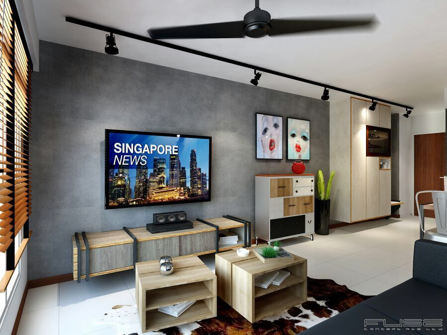Z L Construction Singapore  Craftstone Feature Wall In Bare Endearing Living Room Tv Console Design Review
