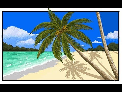 MS Paint drawing - How to draw Coconut tree/ Palm tree beach ...