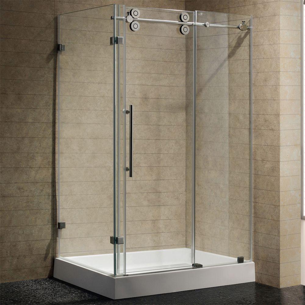 Vigo VG6051 36x48W Rectangular 48 Inch Tempered Glass Shower Enclosure W/  Base