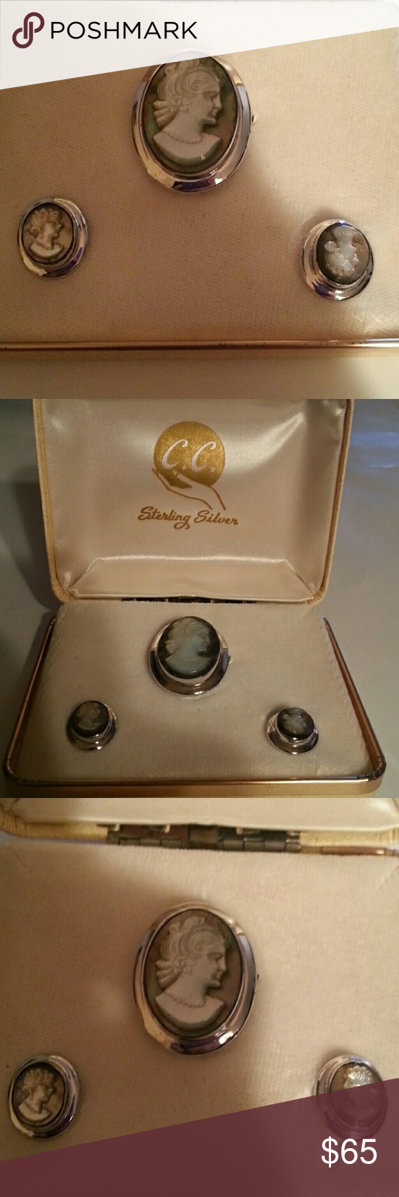 C.C. STERLING SILVER CAMEO SET VINTAGE C. C. STERLING SILVER CAMEO SET VINTAGE PIN , AND EARRINGS SCREW BACK GOOD CONDITION ORIGINAL BOX WHICH IS A BIT SOILED ON OUTSIDE C. C. Jewelry