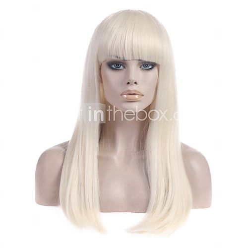 Synthetic Wig Straight Straight With Bangs Wig Blonde Long Light Blonde Synthetic Hair Women S With Bangs Blonde Strongbeauty 2021 Us 17 67 Hair Pieces Synthetic Hair Wigs